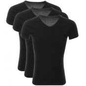 Tommy Hilfiger 3 Pack V Neck T Shirts Black
