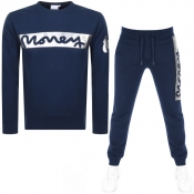 Money Block Sig Ape Crew Neck Tracksuit Navy