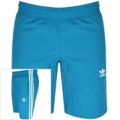 adidas Originals 3 Stripes Swim Shorts Blue