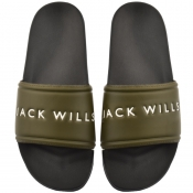 Jack Wills Dunnock Pool Sliders Green