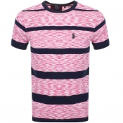 Luke 1977 Spaces Cadet Stripe T Shirt Pink