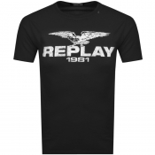 Product Image for Replay Logo Crew Neck T Shirt Black