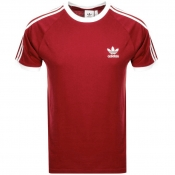 Adidas Originals California 3 Stripe T Shirt Red