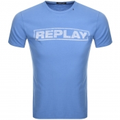 Replay Logo Crew Neck T Shirt Blue
