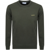Product Image for Calvin Klein Logo Crew Neck Sweatshirt Khaki