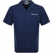 Tommy Jeans Short Sleeved Twill Shirt Navy