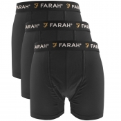 Farah Vintage Saginaw 3 Pack Boxer Shorts Black