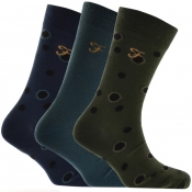 Farah Vintage Nortan Fashion 3 Pack Socks Green