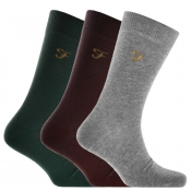 Product Image for Farah Vintage Benkwith 3 Pack Solid Socks Burgundy