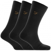 Farah Vintage Astley Embro 3 Pack Socks Black