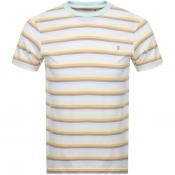 Farah Vintage Piper Stripe T Shirt White