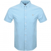 Farah Vintage Short Sleeved Brewer Shirt Blue