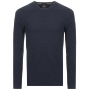 BOSS Casual Long Sleeved Tempest T Shirt Navy