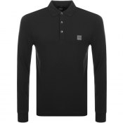 BOSS Casual Long Sleeved Polo T Shirt Black