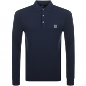 BOSS Casual  Long Sleeved Polo T Shirt Blue