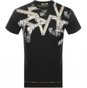 Product Image for Versace Jeans Short Sleeved Print T Shirt Black