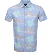 Edwin Short Sleeved Allover Palm Shirt Blue