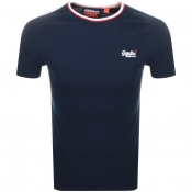 Superdry Tipped Sports Stripe Logo T Shirt Navy
