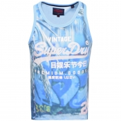 Superdry Premium Goods Logo Vest T Shirt Blue