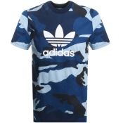 Product Image for adidas Originals Camo Trefoil T Shirt Navy