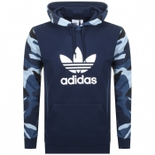 Product Image for adidas Originals Camo Trefoil Logo Hoodie Navy