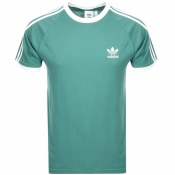 Adidas Originals California 3 Stripe T Shirt Green