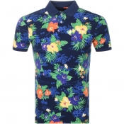 Product Image for Ralph Lauren Slim Fit Floral Polo T Shirt Navy