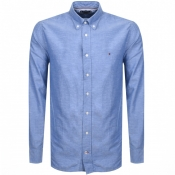 Product Image for Tommy Hilfiger Long Sleeved Dobby Linen Shirt Blue