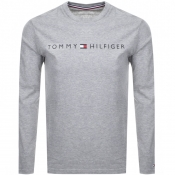 Tommy Hilfiger Long Sleeved Logo T Shirt Grey