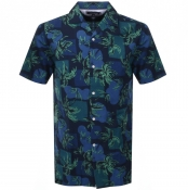 Tommy Hilfiger Short Sleeved Palm Tree Shirt Navy