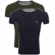 Product Image for Emporio Armani 2 Pack Crew Neck T Shirts Khaki
