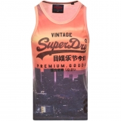 Superdry Premium Goods Logo Vest T Shirt Orange