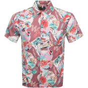 Replay Short Sleeved Tropical Shirt Pink