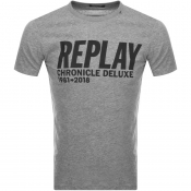 Product Image for Replay Logo Crew Neck T Shirt Grey