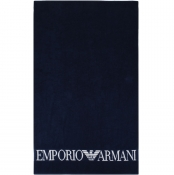 Emporio Armani Large Logo Beach Towel Navy