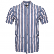 Nudie Jeans Short Sleeved Stripe Shirt Blue