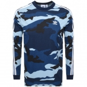 adidas Originals Long Sleeve Camo T Shirt Blue