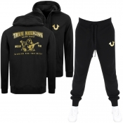 True Religion Double Puff Tracksuit Black