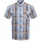Fred Perry Short Sleeved Madras Check Shirt Blue