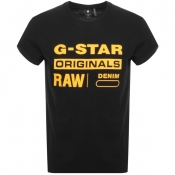G Star Raw Logo T Shirt Black