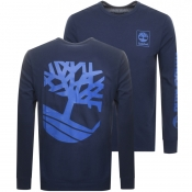 Timberland Logo Long Sleeve T Shirt Navy