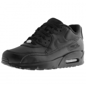 Product Image for Nike Air Max 90 Leather Trainers Black