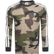 adidas Originals Long Sleeve Camo T Shirt Khaki