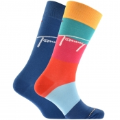 Tommy Hilfiger 2 Pack Colour Block Socks Blue